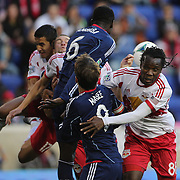 Pegguy Luyindula, (right), New York Red Bulls, at the front of a goal mouth scramble during the New York Red Bulls V Chicago Fire, Major League Soccer regular season match at Red Bull Arena, Harrison, New Jersey. USA. 27th October 2013. Photo Tim Clayton