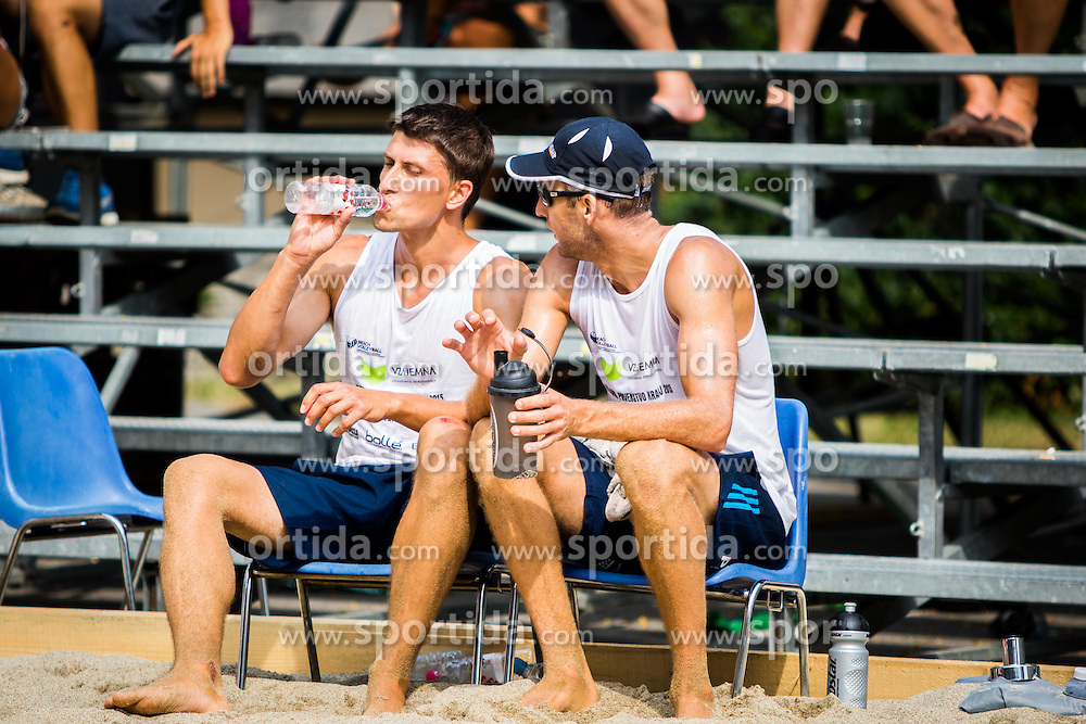 Zlatko Pulko of SK Vienpi and Danijel Pokersnik of SK Vienpi during Qlandia Beach Challenge 2015 and Beach Volleyball Slovenian National Championship 2015, on July 25, 2015 in Kranj, Slovenia. Photo by Ziga Zupan / Sportida