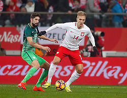 14.11.2016, Stadion Miejski, Wroclaw, POL, Testspiel, Polen vs Slowenien, im Bild Miha Mevlja, Lukasz Teodorczyk // during the international friendly football match between Poland vs Slovenia at the Stadion Miejski in Wroclaw, Poland on 2016/11/14. EXPA Pictures © 2016, PhotoCredit: EXPA/ Newspix/ Tomasz Wantula<br /> <br /> *****ATTENTION - for AUT, SLO, CRO, SRB, BIH, MAZ, TUR, SUI, SWE, ITA only*****