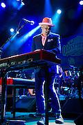 Jerry Dale McFadden of The Mavericks performing at Old Settler's Music Festival, Austin, Texas, April 17, 2015.