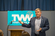 Wyandanch, New York, USA. March 26, 2017. RICH SCHAFFER, Chairman of Suffolk County Democratic Committee, is speaking at the Politics 101 event, the first of series of activist training workshop for members of TWW LI, the Long Island affiliate of national Together We Will. One of the 5 speakers referred to groups such as TWWLI as activist pop-up groups.
