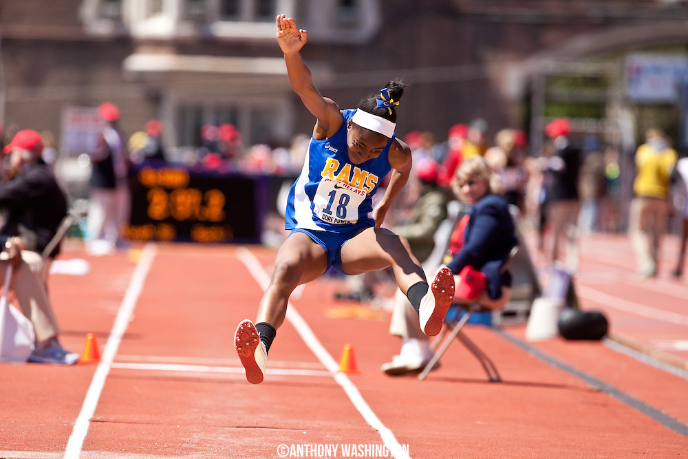 Uloma Nwaolu of Robinson High School competes in the High School Girls Triple Jump Championship at the Penn Relays on Thursday, April 24, 2014 in Philadelphia, PA.