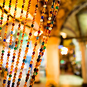 Colorful beads decorate the entrance to a tea house in the heart of Istanbul's Grand Bazaar.