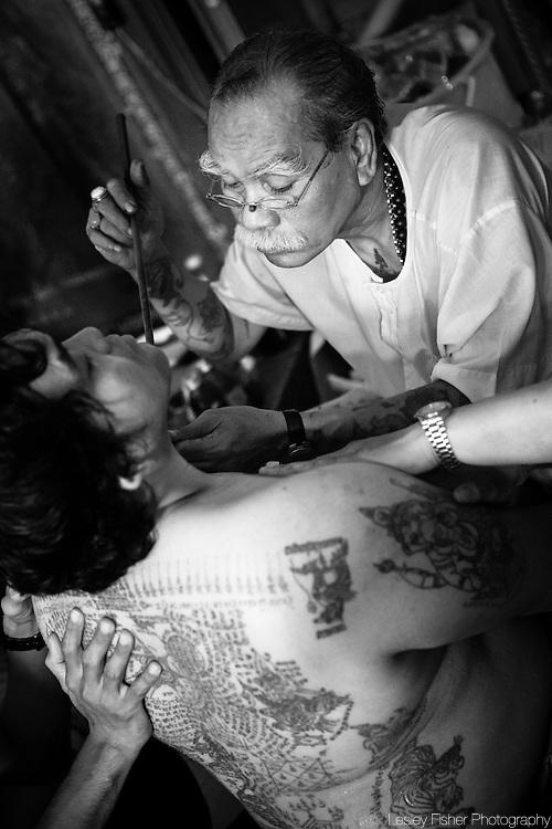 Wai Khru Tatoo Festival at Wat Bang Phra, Bangkok, Thailand