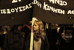 Protest march hold by leftist groups to mark the 8th anniversary of the murder of Alexandros Grigoropoulos who was shot dead by police officer Epaminondas Korkoneas in 2008. Athens, Greece, December 6, 2016. Photo by Panayotis Tzamaros/ABACAPRESS.COM