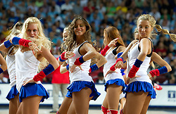 Cheerleaders perform during the second semifinal basketball match between National teams of Serbia and Turkey at 2010 FIBA World Championships on September 11, 2010 at the Sinan Erdem Dome in Istanbul, Turkey. Turkey defeated Serbia 83 - 82 and qualified to finals.  (Photo By Vid Ponikvar / Sportida.com)