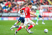 Preston North End forward Tom Barkhuizen (29) and Charlton Athletic defender Tom Lockyer (5) during the EFL Sky Bet Championship match between Charlton Athletic and Preston North End at The Valley, London, England on 3 November 2019.