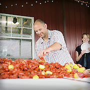 Crawfish boil in Como Texas on Saturday, April 17, 2010. Photo By TomTurner