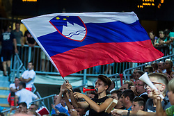 Fans of Slovenia with national flag during friendly basketball match between National teams of Slovenia and Italy at day 3 of Adecco Cup 2015, on August 23 in Koper, Slovenia. Photo by Grega Valancic / Sportida