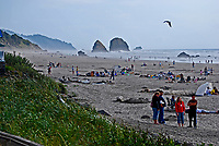Haystack Rock, Cannon Beach, Oregon, USA, 200809010764, bathers, children, Pacific Ocean, rock, sea mist'<br />