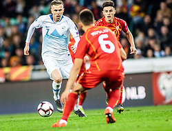 Josip Iličić of Slovenia vs Visar Musliu of Macedonia  and Eljif Elmas of Macedonia during football match between National teams of Slovenia and North Macedonia in Group G of UEFA Euro 2020 qualifications, on March 24, 2019 in SRC Stozice, Ljubljana, Slovenia.  Photo by Matic Ritonja / Sportida