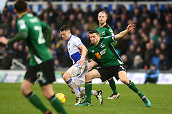 Ollie Clarke of Bristol Rovers is challenged by Murray Wallace of Scunthorpe United - Mandatory by-line: Dougie Allward/JMP - 25/02/2017 - FOOTBALL - Memorial Stadium - Bristol, England - Bristol Rovers v Scunthorpe United - Sky Bet League One