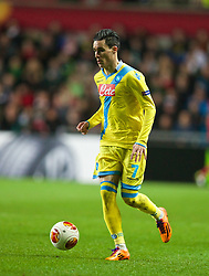 SWANSEA, WALES - Thursday, February 20, 2014: SSC Napoli's Jose Callejon in action against Swansea City during the UEFA Europa League Round of 32 1st Leg match at the Liberty Stadium. (Pic by David Rawcliffe/Propaganda)