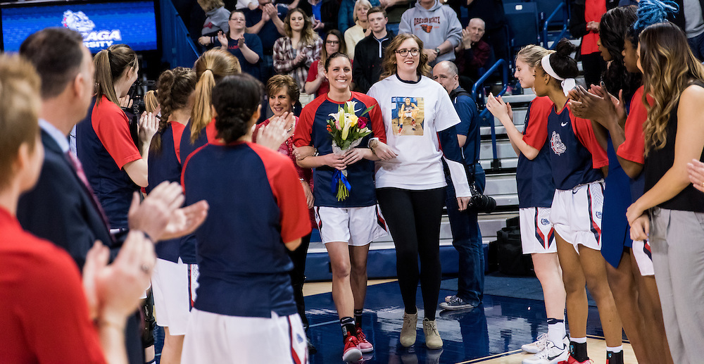 Gonzaga Women's Basketball beat San Diego 62 - 57 on Senior Night to clinch the WCC regular season championship on February 23, 2017 in the McCarthey Athletic Center. (Photo by Edward Bell)