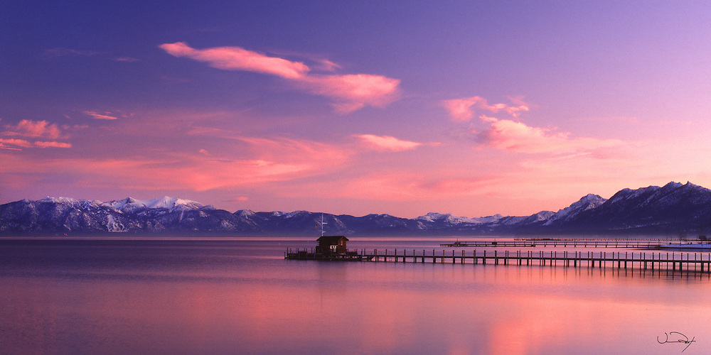 Lake Tahoe Scenic Sunset Pier Panorama