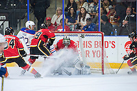 PENTICTON, CANADA - SEPTEMBER 17: Tyler Parsons #82 of Calgary Flames makes a save against the Edmonton Oilers on September 17, 2016 at the South Okanagan Event Centre in Penticton, British Columbia, Canada.  (Photo by Marissa Baecker/Shoot the Breeze)  *** Local Caption *** Tyler Parsons;