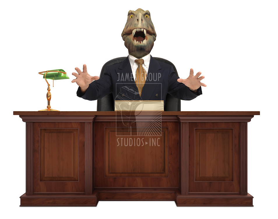 A classic styled corporate desk with with a Tyrannosaurus Rex sitting behind it wearing a suit and tie on white background