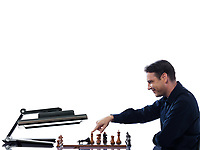 caucasian man winning chess against computer fail concept on isolated white background
