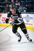 KELOWNA, CANADA - OCTOBER 9: Cal Foote #25 of Kelowna Rockets skates against the Victoria Royals on OCTOBER 9, 2015 at Prospera Place in Kelowna, British Columbia, Canada. Foote is the son of former NHLer Adam Foote. (Photo by Marissa Baecker/Getty Images)  *** Local Caption *** Cal Foote;