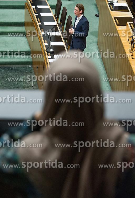 25.02.2015, Parlament, Wien, AUT, Parlament, 62. Nationalratssitzung, Sitzung des Nationalrates mit Vorlage eines neuen Islamgesetzes. im Bild Journalistin mit Kopftuch bobachtet die Sitzung mit Bundesminister für europaeische und internationale Angelegenheiten Sebastian Kurz (ÖVP) // female journalist with Islamic headscarf and Foreign Minister of Austria Sebastian Kurz (OeVP) during the 62nd meeting of the National Council of austria at austrian parliament in Vienna, Austria on 2015/02/25, EXPA Pictures © 2015, PhotoCredit: EXPA/ Michael Gruber