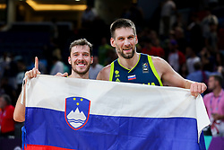 Goran Dragic of Slovenia and Gasper Vidmar of Slovenia celebrate after winning during basketball match between National Teams of Slovenia and Spain at Day 15 in Semifinal of the FIBA EuroBasket 2017 at Sinan Erdem Dome in Istanbul, Turkey on September 14, 2017. Photo by Vid Ponikvar / Sportida