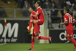 November 5, 2017 - Guimaraes, Guimaraes, Spain - Benfica's Greek midfielder Andreas Samaris celebrates after scoring goal with teammate Benfica's Brazilian forward Jonas during the Premier League 2017/18 match between Vitoria SC and SL Benfica, at Dao Afonso Henriques Stadium in Guimaraes on November 5, 2017. (Credit Image: © Dpi/NurPhoto via ZUMA Press)