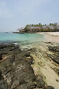 Rocky beach and forest in Contadora island. Las Perlas archipelago, Panama province, Panama, Central America.