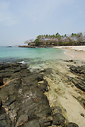 Rocky beach and forest in Contadora island. Las Perlas archipelago, Panama province, Panama, Central America.