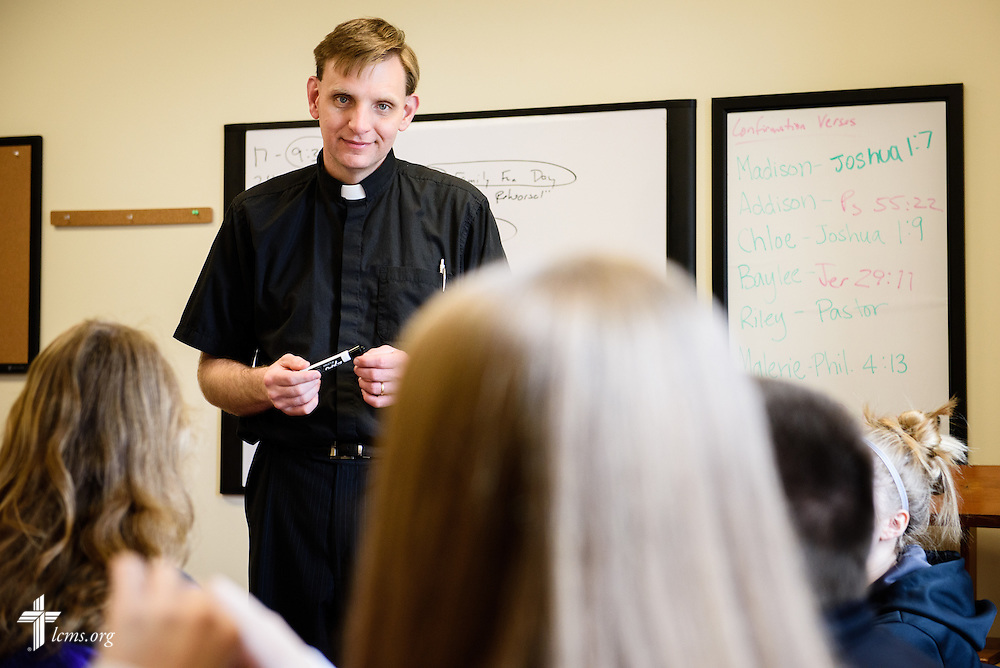 The Rev. Doug Bauman, pastor of St. Paul Evangelical Lutheran Church, leads confirmation class at the church on Sunday, April 10, 2016, in Columbus, Ind. LCMS Communications/Erik M. Lunsford