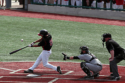 26 April 2014:  Jack Czeszewski bats in front of Matt Jones and umpire Bret Bruington during an NCAA Division 1 Missouri Valley Conference (MVC) Baseball game between the Southern Illinois Salukis and the Illinois State Redbirds in Duffy Bass Field, Normal IL