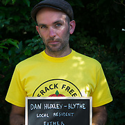Dan Huxley-Blythe, father and local antique dealer. 13 anti-fracking activists, climate protectors, the day before doing a joint lock-on outside Quadrilla's drill site in New Preston Road, Lancashire. The campaign against the drilling for shale gas has been going for years and since January 2017 many have taken to block the gates to deny Quadrilla being able to drill. Fracking was rejected by Lancashire County council in 2015 but were overruled by central Conservative government and locals are fighting to stop the drilling and reverse the decision.