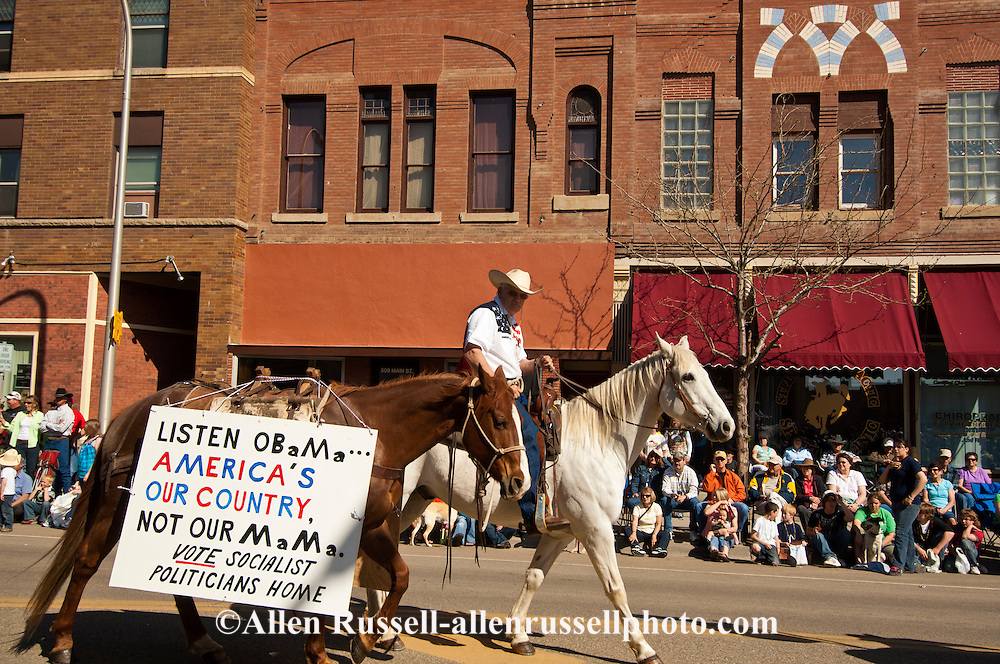 Anti Obama sign, Miles City Bucking Horse Sale Parade, Montana