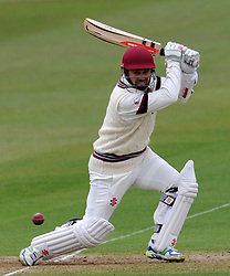 Somerset's Johann Myburgh hits the ball of the bowling of Durham MCCU's Will Jenkins- Photo mandatory by-line: Harry Trump/JMP - Mobile: 07966 386802 - 02/04/15 - SPORT - CRICKET - Pre Season Fixture - Day One - Somerset v Durham MCCU - Taunton Vale Cricket Ground, Somerset, England.
