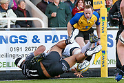 Newcastle Falcons Wing Sinoti Sinoti (11) stops Leicester Tigers Flanker Brendon O'Connor (7) scoring a try during the Aviva Premiership match between Newcastle Falcons and Leicester Tigers at Kingston Park, Newcastle, United Kingdom on 29 October 2017. Photo by Simon Davies.