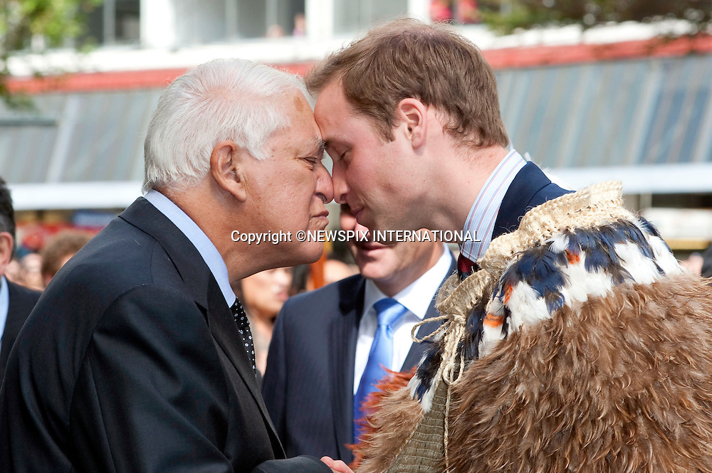 "PRINCE WILLIAM.Hongi with Ex Governor General Sir Paul Reeves.Prince William opened the Supreme Court building in Wellington.The Prince was greeted with a traditional Maori Hongi on arrival and also wore a  Korowui (cape) made from feathers and plat fibbers.New Zealand's Primer Minister John Key accompanied Prince William. Wellington, 18/01/2010 .Mandatory Credit Photo: ©DIAS-NEWSPIX INTERNATIONAL..**ALL FEES PAYABLE TO: ""NEWSPIX INTERNATIONAL""**..IMMEDIATE CONFIRMATION OF USAGE REQUIRED:.Newspix International, 31 Chinnery Hill, Bishop's Stortford, ENGLAND CM23 3PS.Tel:+441279 324672  ; Fax: +441279656877.Mobile:  07775681153.e-mail: info@newspixinternational.co.uk"