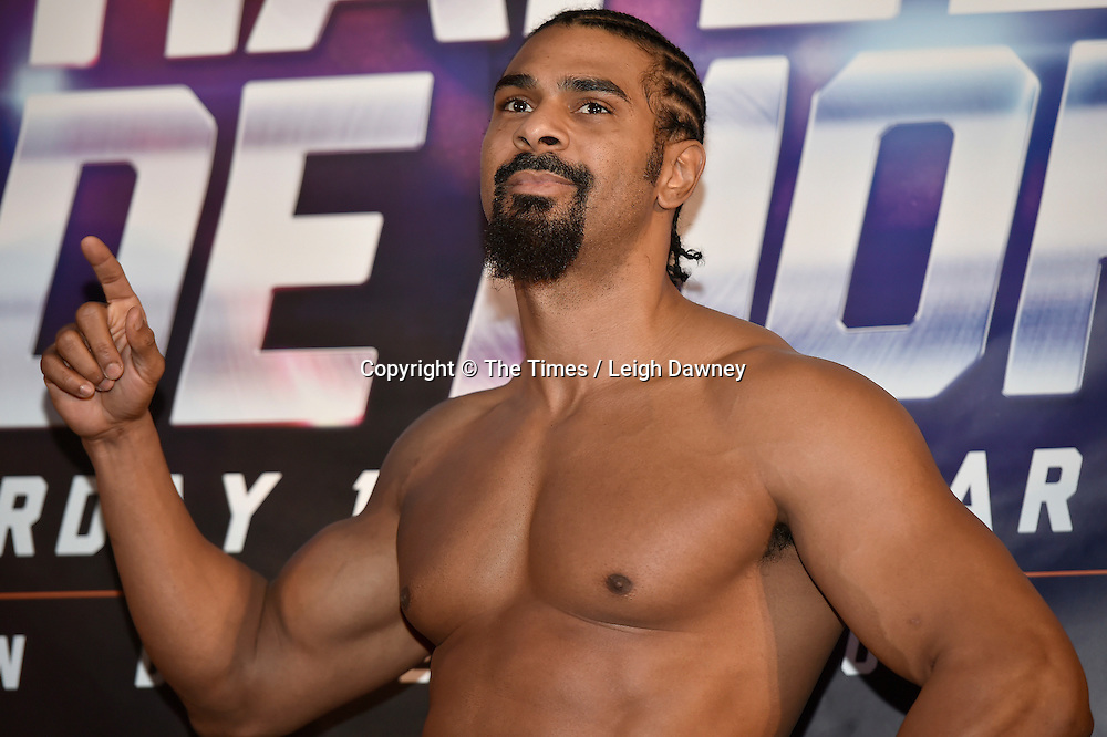 David Haye at the official weigh in ahead of his fight against Mark de Mori. The O2, London. 15th January 2016. Credit: Times Photographer Leigh Dawney