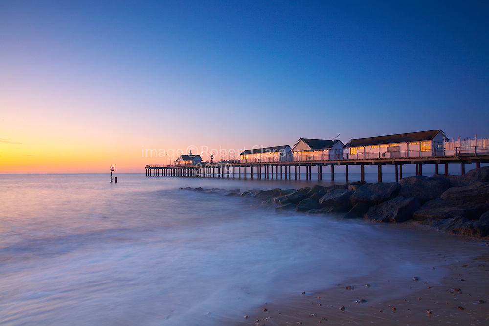 Great Britain England East Anglia Heritage Coast Southwold Suffolk Pier Morning Sunrise Long Exposure