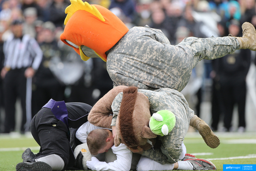 Fun during a time out as fancy dress contestants tackle each other during the Army Black Knights Vs Air Force Falcons, College Football match at Michie Stadium, West Point. New York. Air Force won the game 23-6. West Point, New York, USA. 1st November 2014. Photo Tim Clayton
