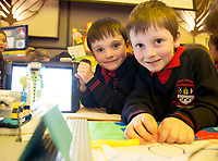 REPRO FREE:   Thomas Byrne and Diarmuid O Reilly from Calrinbridge NS at the Junior FIRST Lego League run by Galway Education Centre, in Galmont Hotel &amp; Spa.<br />  Photo: Andrew Downes, XPOSURE