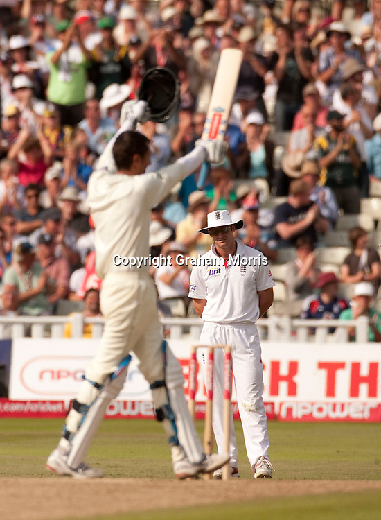 Zulqarnain Haider celebrates his half-century as captain Andrew Strauss watches during the second npower Test Match between England and Pakistan at Edgbaston, Birmingham.  Photo: Graham Morris (Tel: +44(0)20 8969 4192 Email: sales@cricketpix.com) 08/08/10