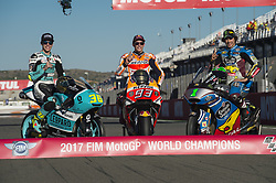 November 12, 2017 - Valencia, Valencia, Spain - World champions #36 Joan Mir (Spa) Leopard Racing Honda (Moto3) #93 Marc Marquez (Spanish) Repsol Honda Team Honda (MotoGP) #21 Franco Morbidelli (Ita) Eg 0,0 Marc Vds Kalex (Moto2) during the race day of the Gran Premio Motul de la Comunitat Valenciana, Circuit of Ricardo Tormo,Valencia, Spain. Saturday 12th of november 2017. (Credit Image: © Jose Breton/NurPhoto via ZUMA Press)