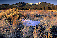 Winter Sunrise at Bonito Meadow and San Francisco Peaks, Sunset Crater Volcano National Monument, Arizona