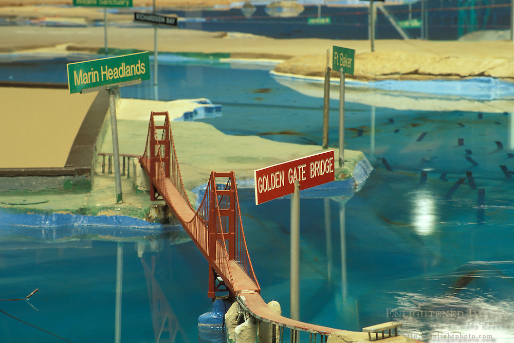 Bay Model. scaled San Francisco Bay showing tidal movement of water and current speed, Sausalito, California