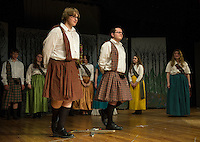 """Sandy MacGregor (Taylor Gagne) and Harry Beaton (Michael Tarling) during dress rehearsal for """"Brigadoon"""" at Laconia High School Wednesday afternoon.  (Karen Bobotas/for the Laconia Daily Sun)"""