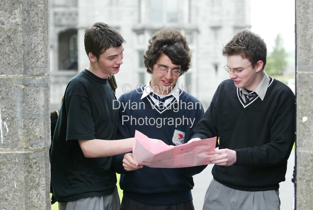 16/5/2003.Brendan Kelleher St Kierans College , Owen Ardill Colaiste Pobail Os Rai and Joe Mulally St Kierans College pictured yesterday after doing the leaving cert physics paper..Picture Dylan Vaughan