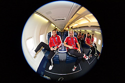 DINARD, FRANCE - Wednesday, June 15, 2016: Wales' Chris Gunter and Aaron Ramsey depart from Aeroport De Dinard Pleurtuit Saint-Malo as they head to Lens for their Group Stage MD 2 game of the UEFA Euro 2016 Championship against England. (Pic by David Rawcliffe/Propaganda)