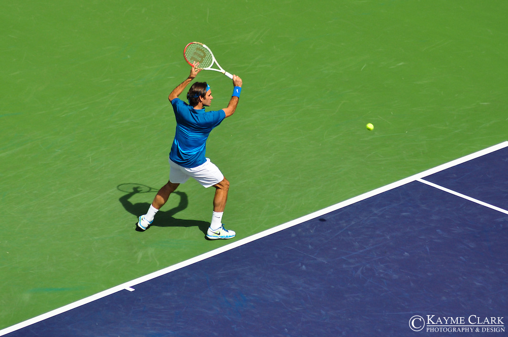 Roger Federer versus Juan Martin Del Potro at the BNP Paribas Open in Indian Wells, California.