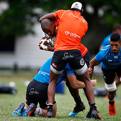 Aphelele Fassi tackling Makazole Mapimpi of the Cell C Sharks during The Cell C Sharks training session at Jonsson Kings Park Stadium in Durban, South Africa. 21 May 2019 (Mandatory Byline Steve Haag)