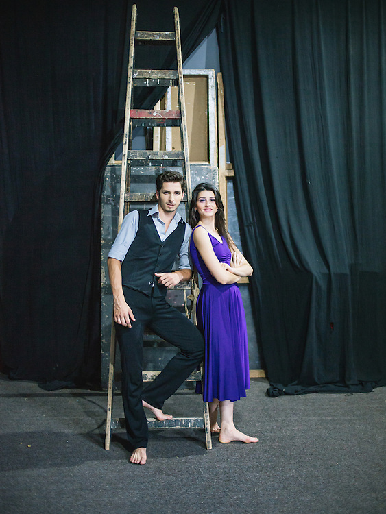 Portrait of Fisnik Smani (left) and Abetare Hyseni (right), two members of the new generation of the Kosovo Ballet before a performance at the Kosovo National Theater, Pristina.