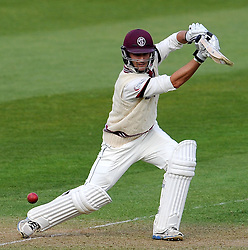 Somerset's Lewis Gregory drives the ball for the bowling of Durham's Graham Onions  - Photo mandatory by-line: Harry Trump/JMP - Mobile: 07966 386802 - 12/04/15 - SPORT - CRICKET - LVCC County Championship - Day 1 - Somerset v Durham - The County Ground, Taunton, England.